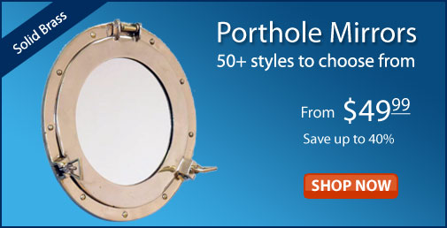 Nautical wall decor, ship wheels, porthole mirrors, bells ...